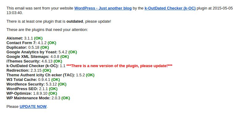 This is how the email alert will look like if plugins are not up-to-date